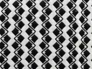 Jacquard Jersey Zickzack - cremeweiss/schwarz