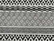RESTSTÜCK 70 cm Jacquard Jersey Inka Look- schwarz/weiß