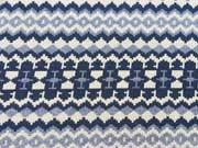 Jacquard Zickzackmuster - blau/ecrue