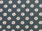 RESTSTÜCK 40 cm Stretchiger Jeansstoff Gänseblümchen, dunkelblau