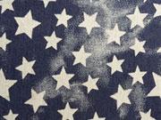 Elastischer Jeansstoff Sterne-dunkelblau Batiklook
