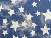 Elastischer Jeansstoff Sterne-mittelblau Batiklook