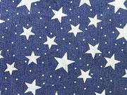 RESTSTÜCK 35 cm Stretchiger Jeansstoff  Sterne&Punkte, dunkelblau