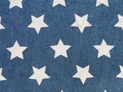 Stretchiger Jeansstoff große Sterne, jeansblau