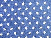 Stretchjeansstoff kleine Sterne, jeansblau
