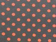 RESTSTÜCK 94 cm Jersey Punkte 0,6 cm - orange auf dunkelgrau