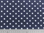 RESTSTÜCK 69 cm Jersey Punkte 0,8 cm - weiss auf dunkelblau