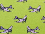 Jersey Stoff Flugzeuge - hellgrün