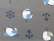 RESTSTÜCK 40 cm Jersey Anker & Möwen/maritime Motive - dunkelgrau