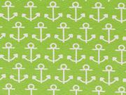 Jersey Anker - weiß auf hellgrün