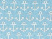 Jersey Anker - weiß auf hellblau