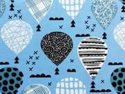 RESTSTÜCK 33 cm Jersey gemusterte Heißluftballons - himmelblau