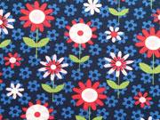 Jerseystoff Blumen Blümchen, rot dunkelblau