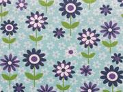 Reststück 96cm Jersey Blumen & Blümchen, mint/dunkelblau