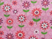Jersey Blumen & Blümchen, rosa/rot