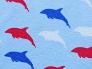 Jersey Delfine auf Hellblau