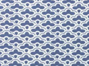Jersey Fächer Muster, jeansblau/weiss