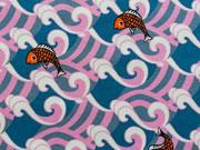 RESTSTÜCK 42 cm Jersey Fische & Wellen - rosa