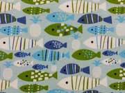 RESTSTÜCK 30 cm Jersey Fische, blau/hellgrün auf hellblau