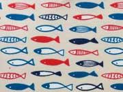 Jersey Fische - blau/rot auf hellbeige