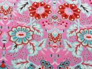 RESTSTÜCK 70 cm Jersey Digitaldruck Blumen Flora, türkis pink