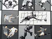 RESTSTÜCK 94 cm Jersey Fußball Motive - grau/weiss