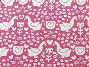 RESTSTÜCK 25 cm Jersey Goose Shadow Gänse - rosa auf pink