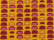 Jerseystoff Halbkreise,  beere auf orangegelb
