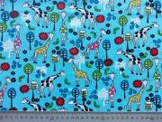 Jersey Giraffen-hellblau/bunt