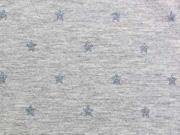 Jersey Metallic Print Glitzer Sterne blau/grau