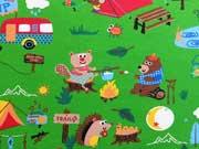RESTSTÜCK 57 cm Jersey Happy Camping, grasgrün