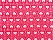 RESTSTÜCK 62 cm Jersey Herzen rosa auf pink rot