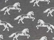 Jersey Horse Ride Pferde - grau-melange/weiss