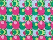 RESTSTÜCK 33 cm Jersey Kreise & Kringel, pink leuchtend grün