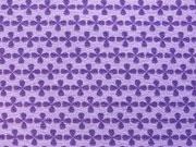RESTSTÜCK 25 cm Jersey Kreuzblume lila auf flieder