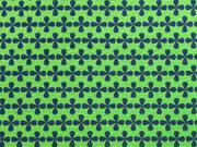 Jersey Kreuzblume dunkelblau auf hellgrün