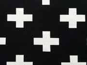 RESTSTÜCK 33 cm Jersey Kreuze - weiß auf schwarz