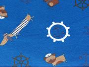 RESTSTÜCK 23 cm Jersey Maritim Hunde, Anker und Steuerrad, blau