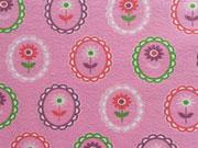 Jersey Medaillons mit Blumen, rosa