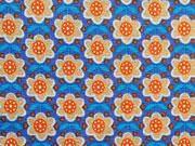 Jersey mini Blumen, orange blau