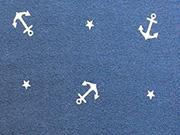RESTSTÜCK 52 cm Jersey Anker & Sternchen,  weiss auf dunkelblau
