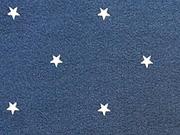 RESTSTÜCK 31 cm Jersey Sternchen 5 mm, weiss auf dunkelblau