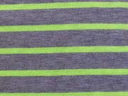Reststück 144cm Jersey Neon-Streifen - neongelb auf grau