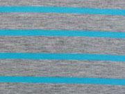 RESTSTÜCK 45 cm Jersey Neon-Streifen - türkis auf grau