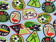 Jersey Flamingos Ananas Buttons, bunt hellblau