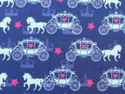 Jersey Pferd mit Kutsche & Sternen, mittelblau