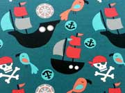 RESTSTÜCK 37 cm Jersey Piratenwelt, petrol