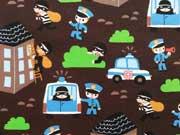 Reststück 69cm Jersey Polizei & Einbrecher - dunkelbraun
