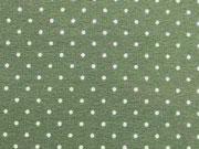 Jersey Mini Punkte 2 mm, weiss auf oliv grün