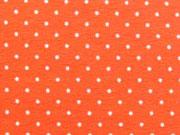 Jersey Mini Punkte, weiss auf orange